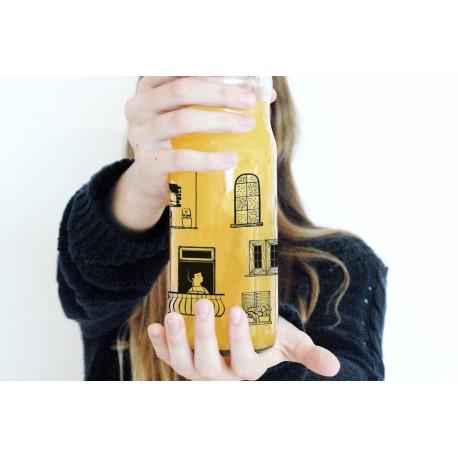 Botella de Vidrio con Tapa y Estampa en colores con Diseño de Autor