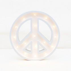 Luz/Lámpara Decorativa de Madera con Formas Simbolo de la Paz