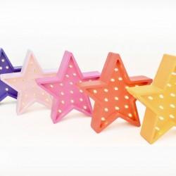 Luz/Lámpara Decorativa de Madera con Formas Estrella Mini