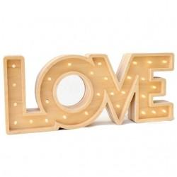 Luz/Lámpara Decorativa de Madera con Formas LOVE Madera
