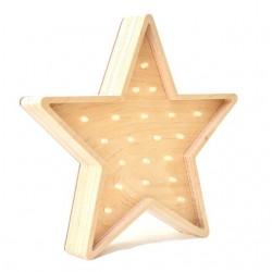 Luz/Lámpara Decorativa de Madera con Formas Estrella Mini Madera