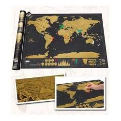 Mapa Mundi para Raspar fondo Negro