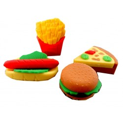 Goma de Borrar Comidas Fast Food Pack x 4